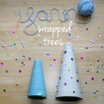 Yarn Wrapped Tree DIY Christmas Decorations - Project Nursery
