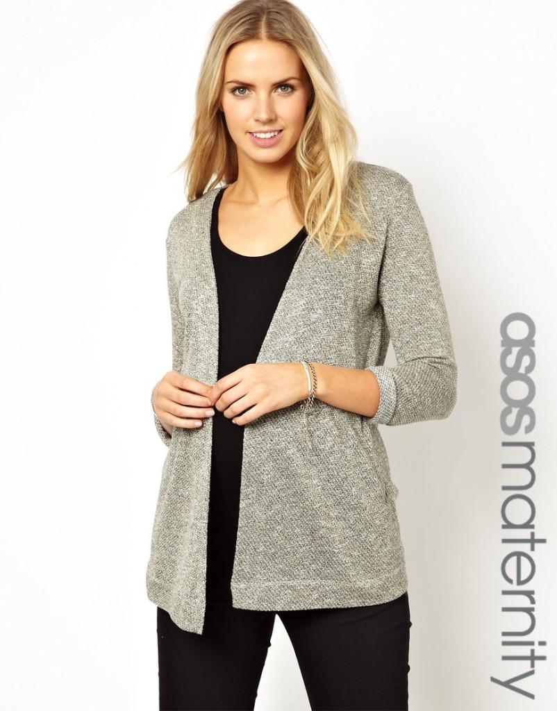 Gray Textured Maternity Cardigan from ASOS