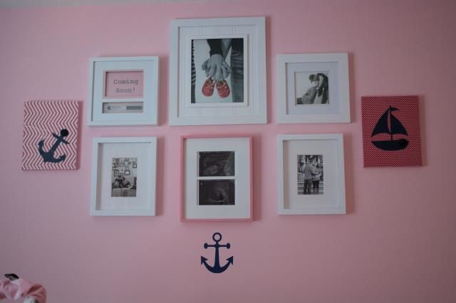 Pink and Navy Nautical Nursery Gallery Wall