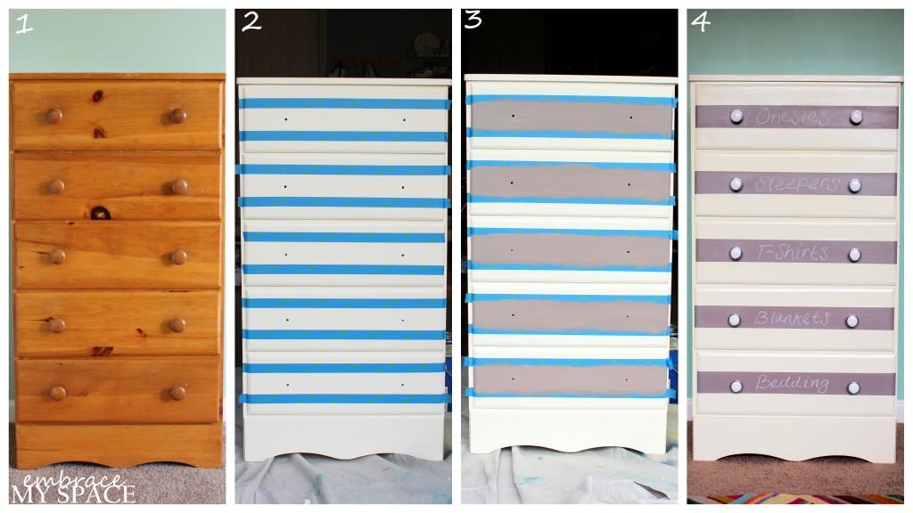DIY Chalkboard Striped Dressers
