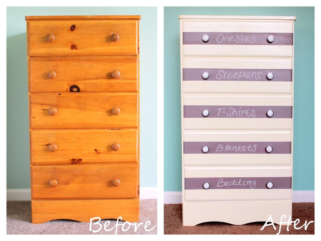Before and After DIY Striped Chalkboard Dresser