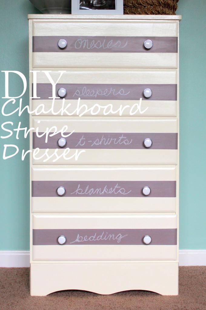 DIY Purple and White Striped Dresser