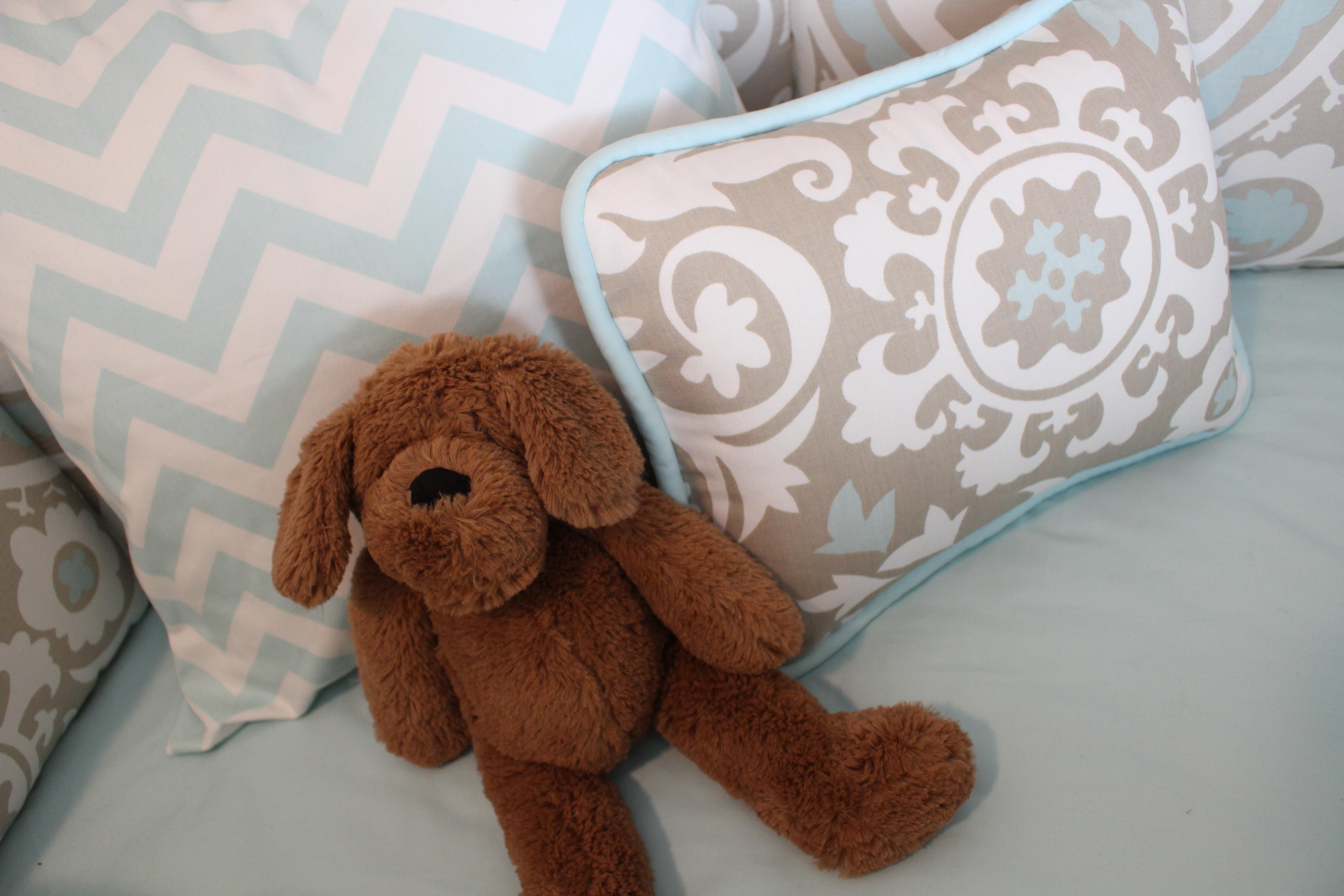 Taupe Suzani Crib Bedding and Chevron Throw Pillow