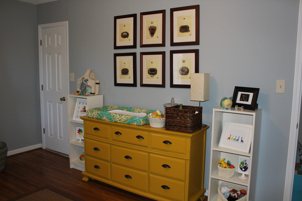 Mustard Dresser with Vintage Bird Nest Wall Art