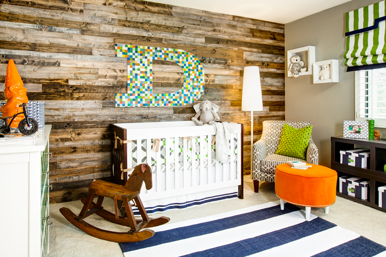 Eclectic Nursery With Wood Panel Accent Wall   Project Nursery