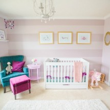 Girls Nursery with Purple Striped Accent Wall - Project Nursery