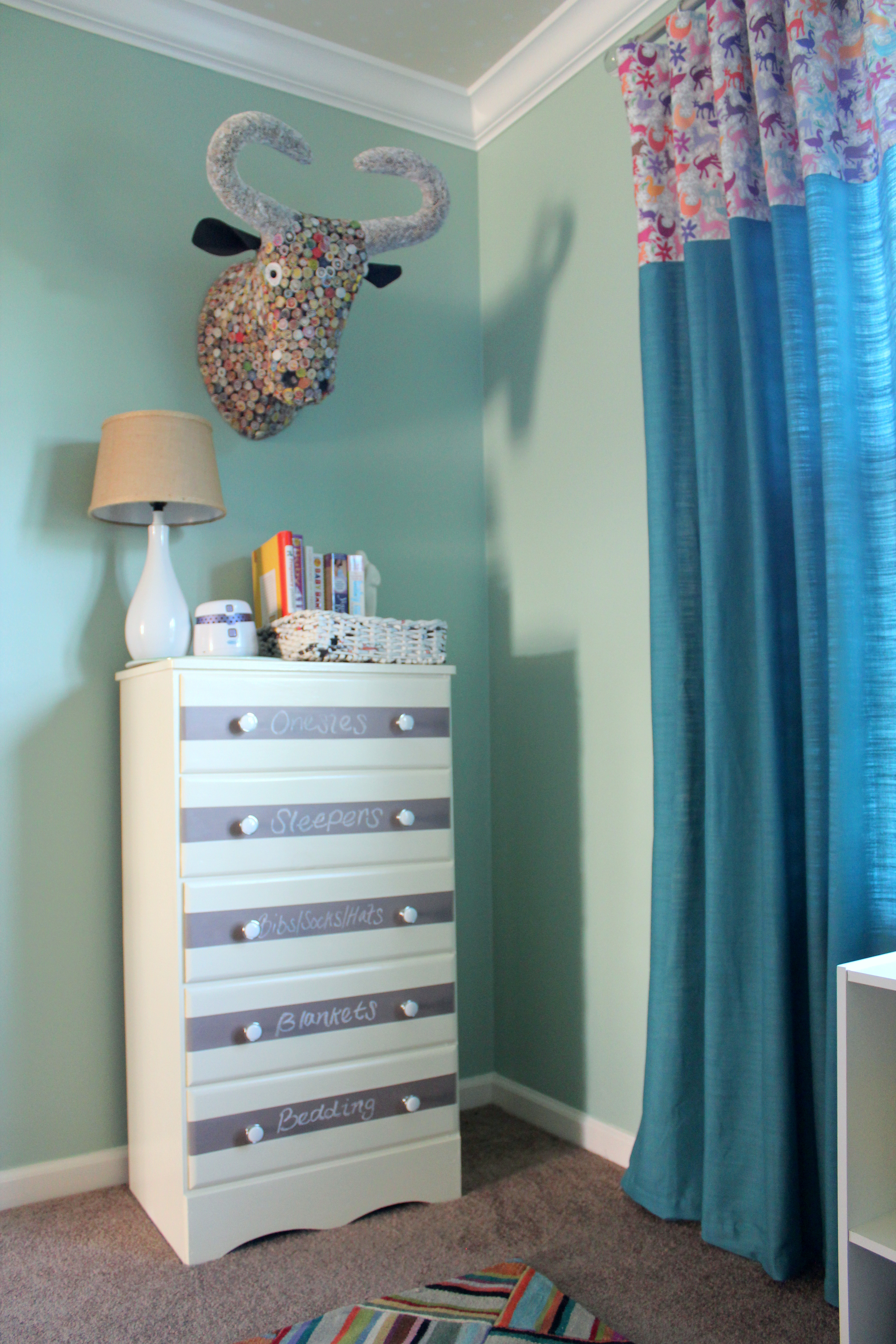 DIY Chalkboard Purple and White Striped Dresser