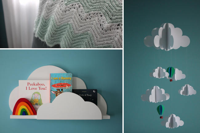 Modern Teal Nursery with Cloud Bookshelf and Mobile - Project Nursery