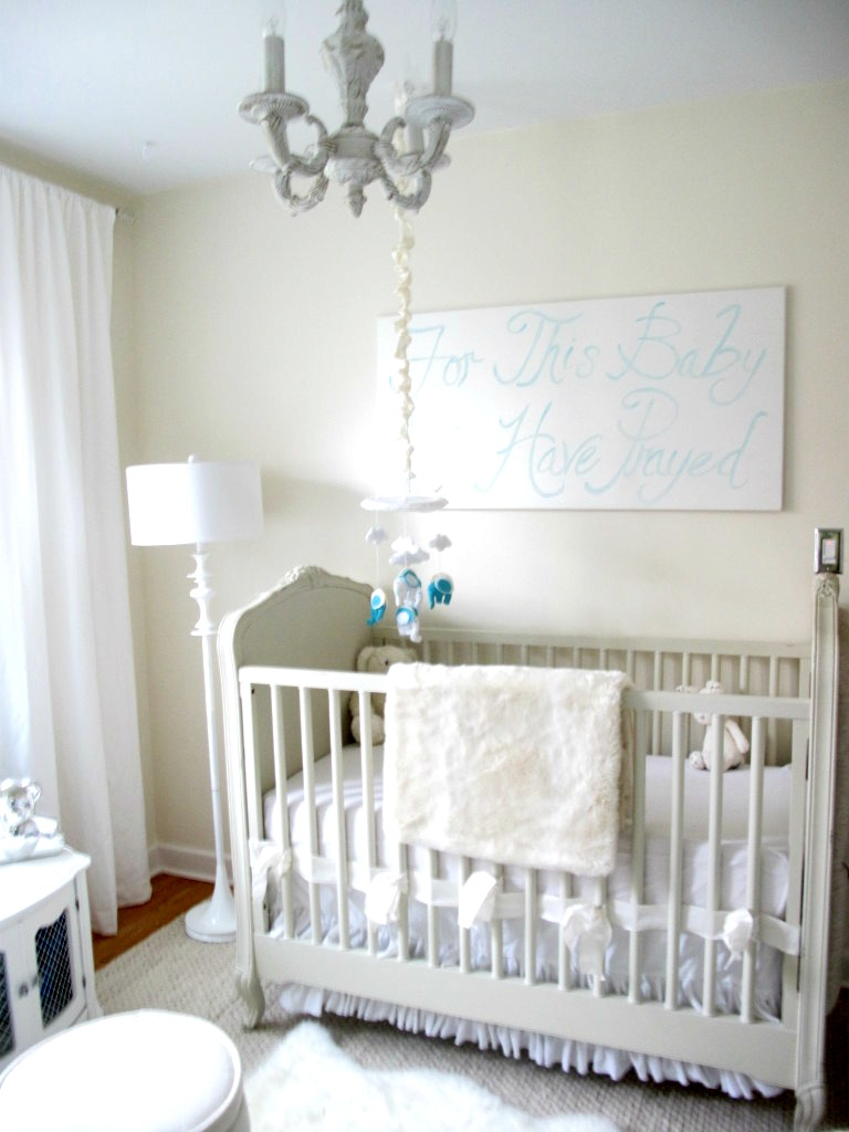 Neutral Nursery with White Chandelier - Project Nursery