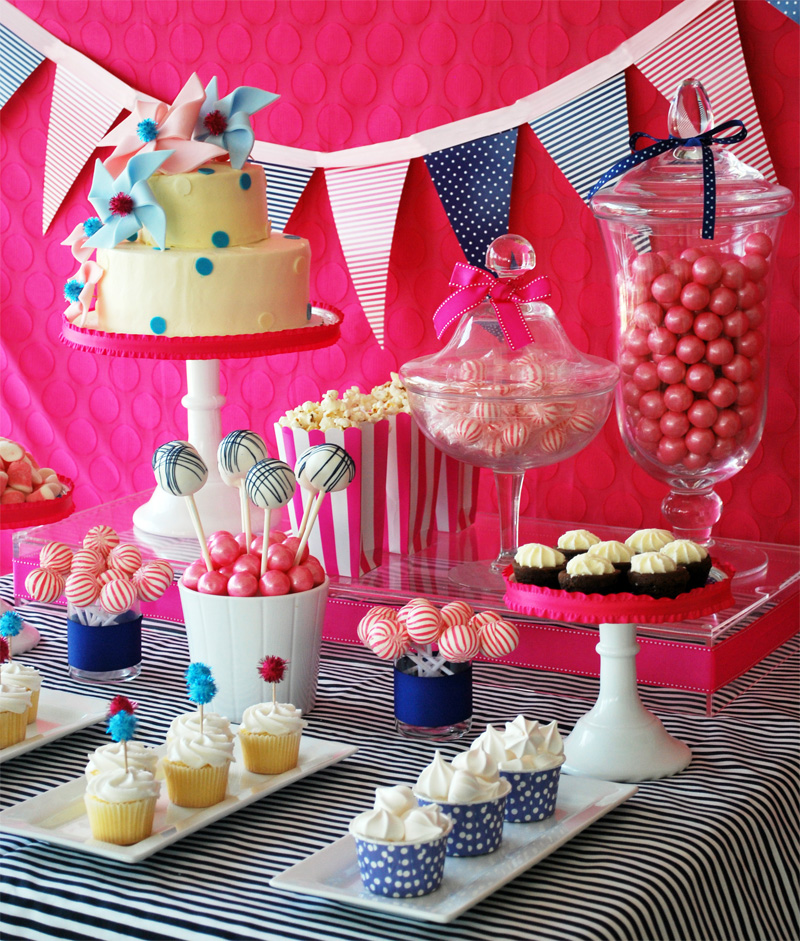 Pinwheels and Polka Dots Party Dessert Table