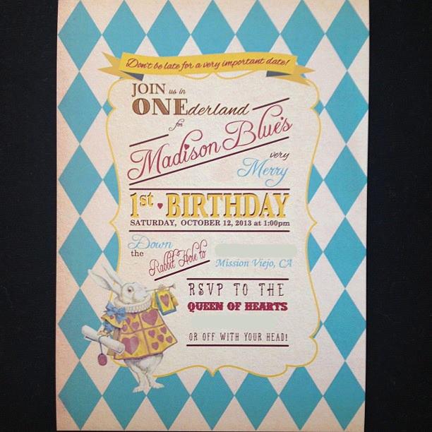 Madison in onederland first birthday party project nursery 3030 alice in wonderland birthday invitation filmwisefo