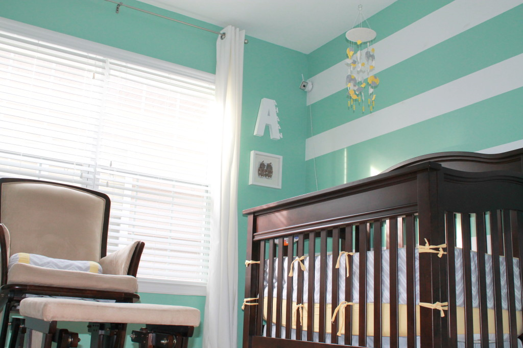Mint Green and White Striped Accent Wall