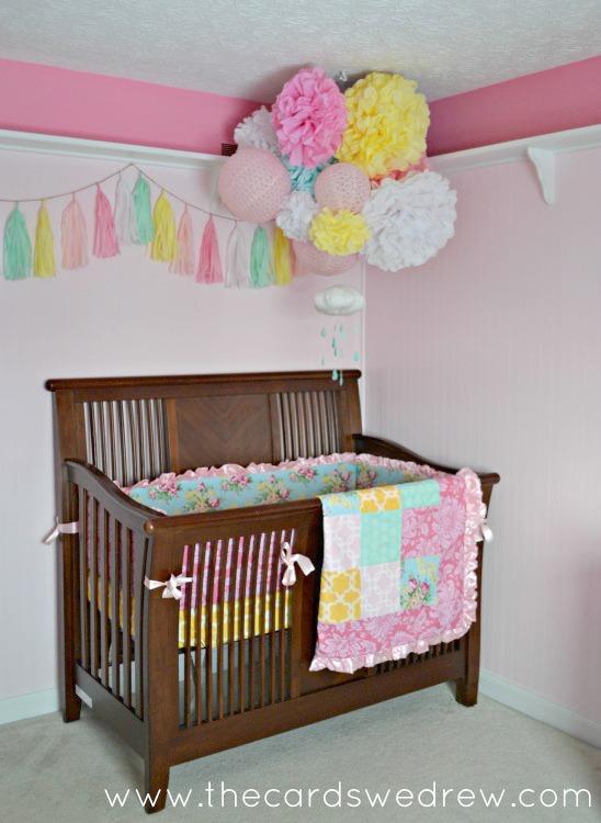 nice Tassel Garland Nursery Part - 8: Tissue Paper Tassel Garland Over Crib