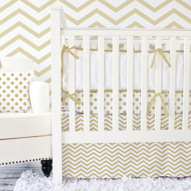 Gold Chevron Crib Bedding from Caden Lane