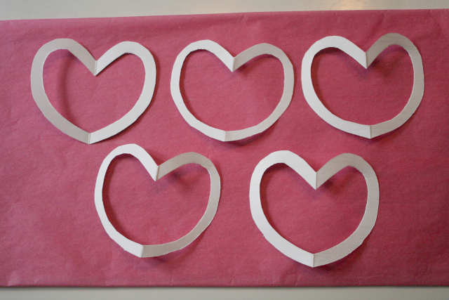 Hearts for Tissue Paper Stained Glass Garland - Project Nursery