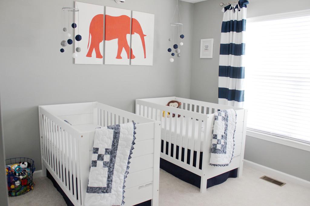 11 11 navy gray and orange twin boys nursery