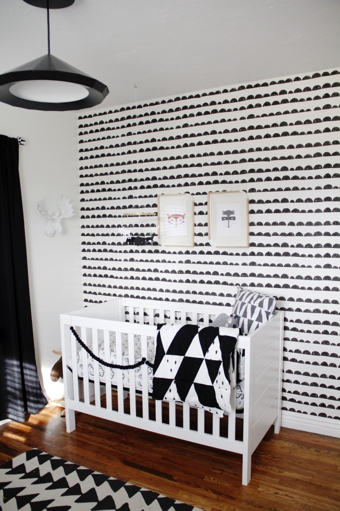 Black and White Half Moon Wallpaper Accent Wall