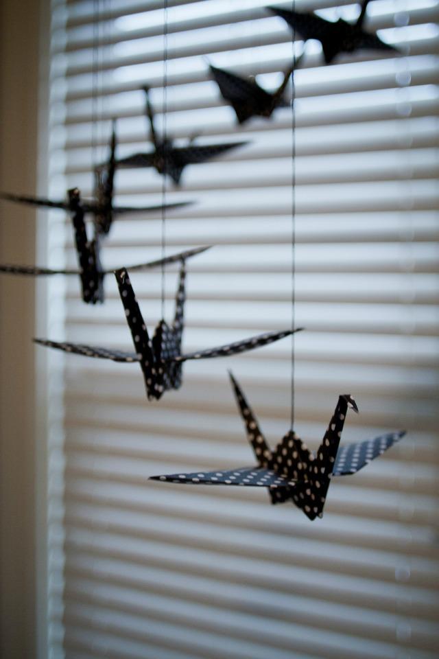 Black Polka Dot Paper Cranes Mobile
