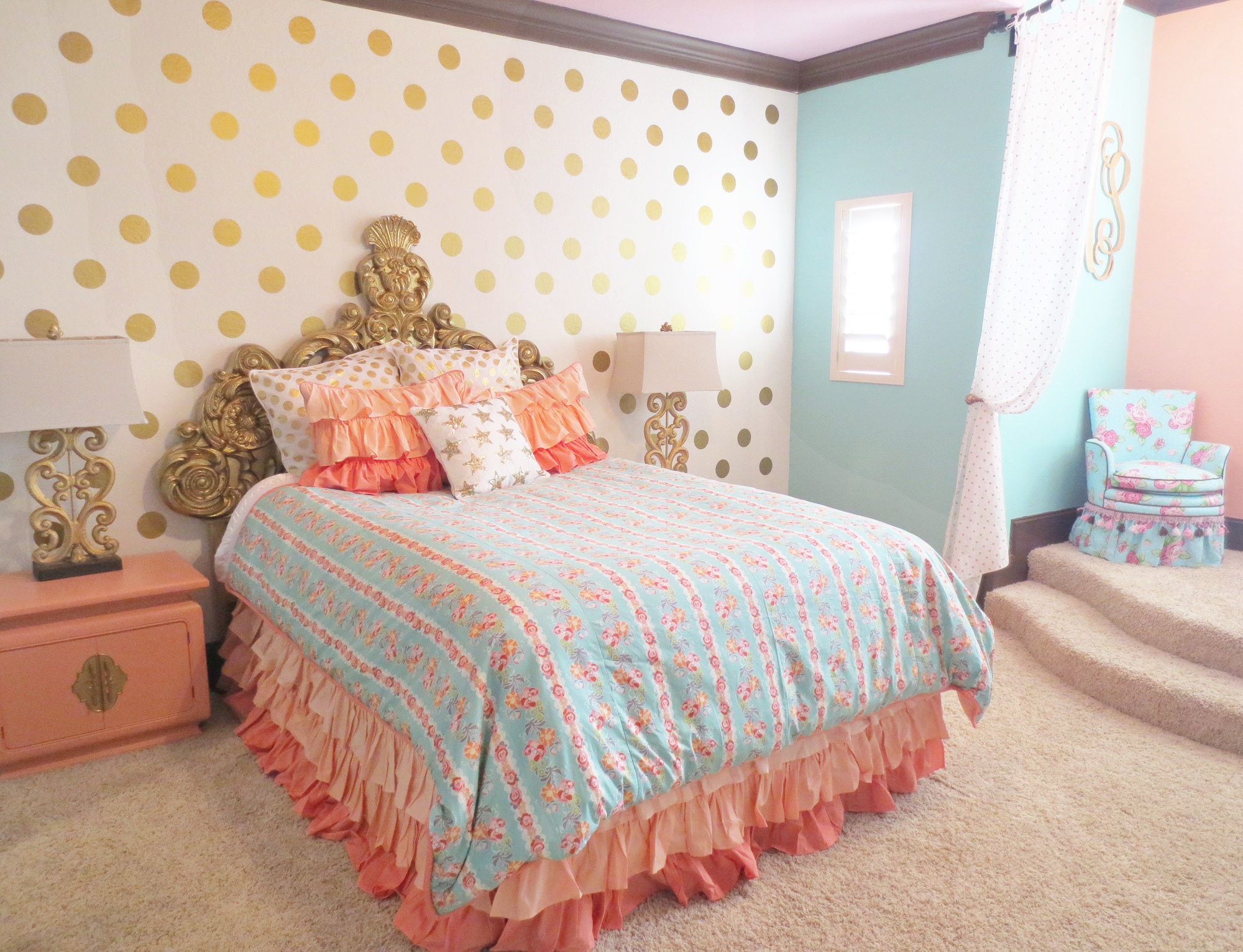 Ashlyn S Coral And Gold Regal Room Project Nursery