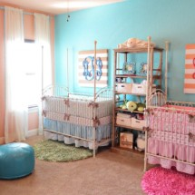 Coral and Aqua Twin Nursery