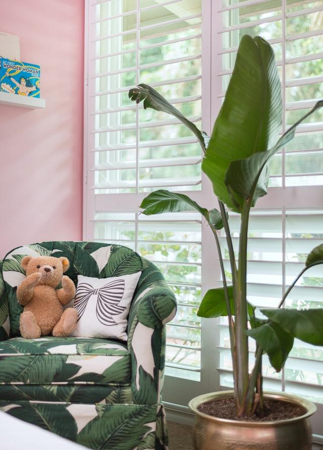 Banana Leaf Fabric Upholstered Armchair