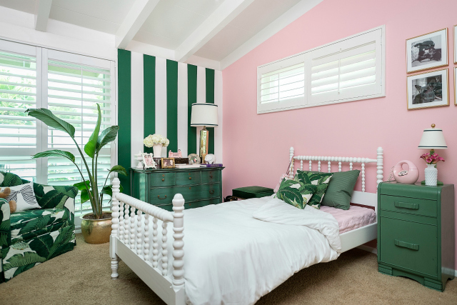 Pink and Green Big Girl Room
