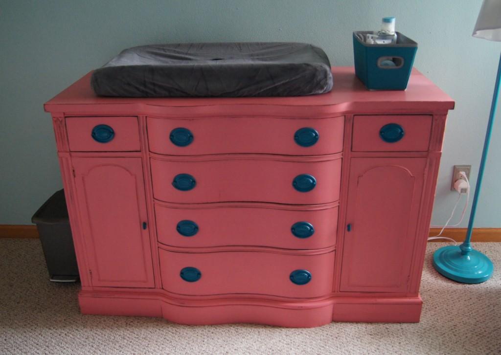 Pink Dresser with Aqua Handles