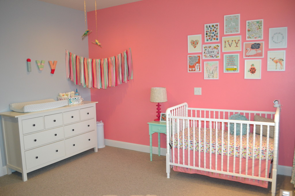 Pink Accent Wall ivy's pink and mint hip and cheery nursery - project nursery