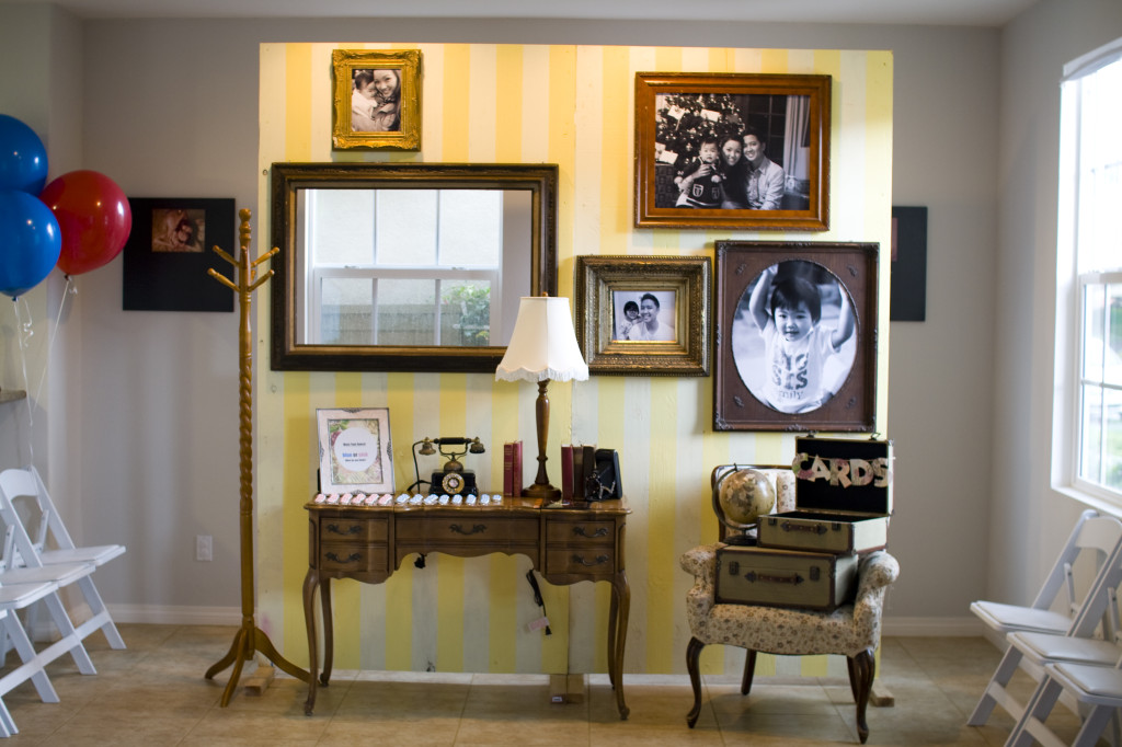 Yellow and White Striped Backdrop for UP Living Room Scene