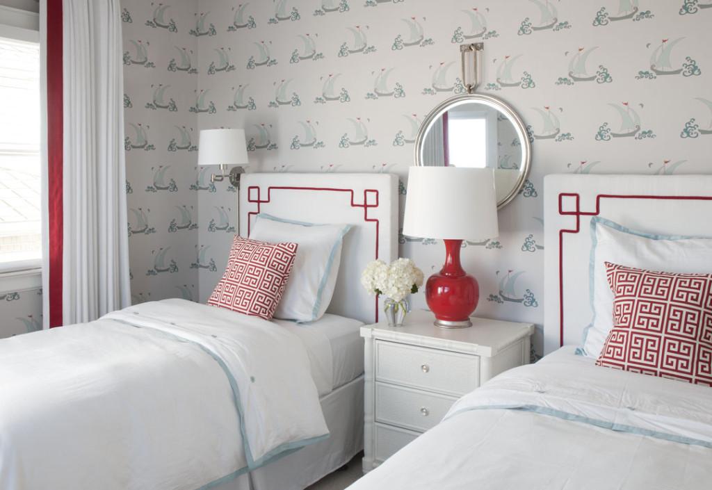 Red and Aqua Twin Bedroom