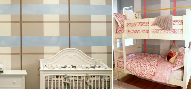 Plaid Accent Wall Murals by Sam Simon in Children's Rooms