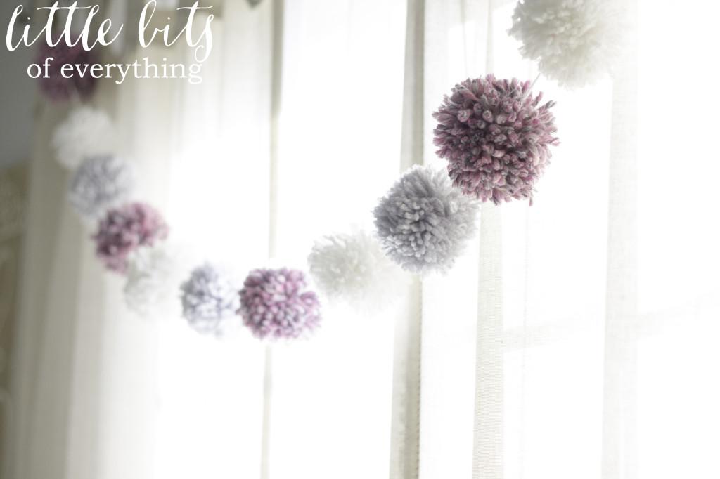 Purple, Gray and White Pom Pom Garland - Project Nursery