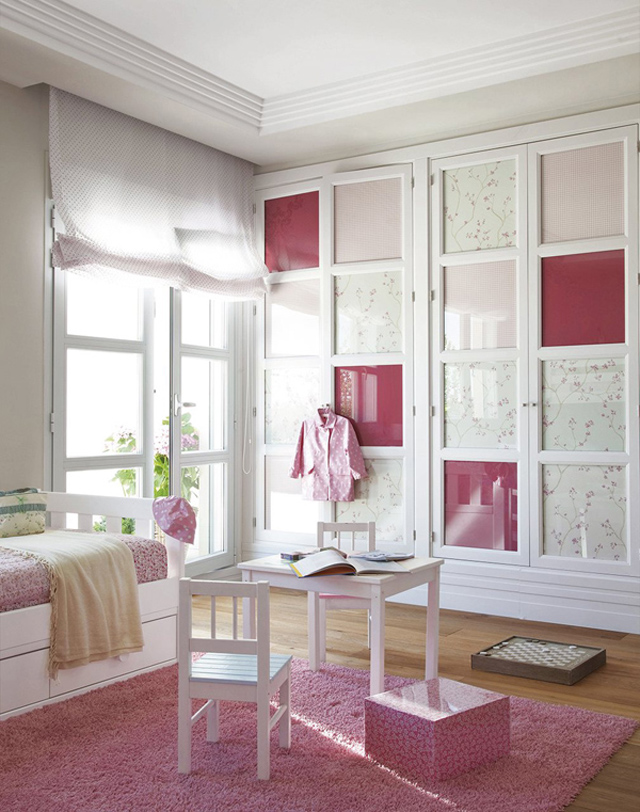 Girls' Bedroom with Built-In Storage