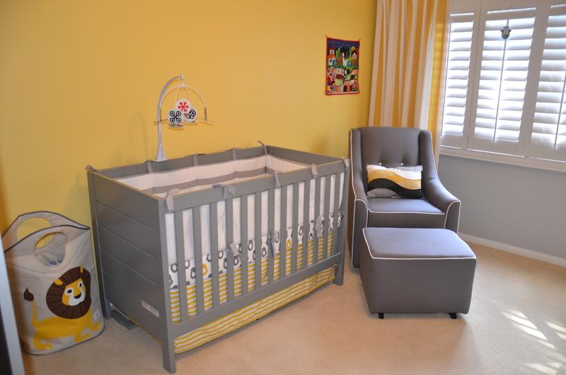 Modern Gray Crib and Glider