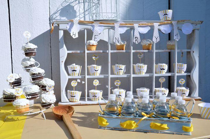 Vintage Cupcake Display on Dessert Table