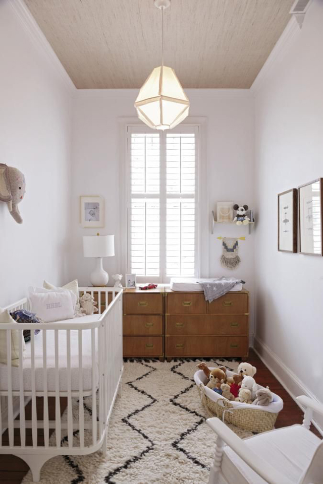 Modern Neutral Nursery with Moroccan Shag Rug