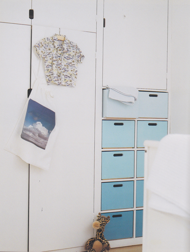 Built-In Cabinets and Blue Ombre Drawers