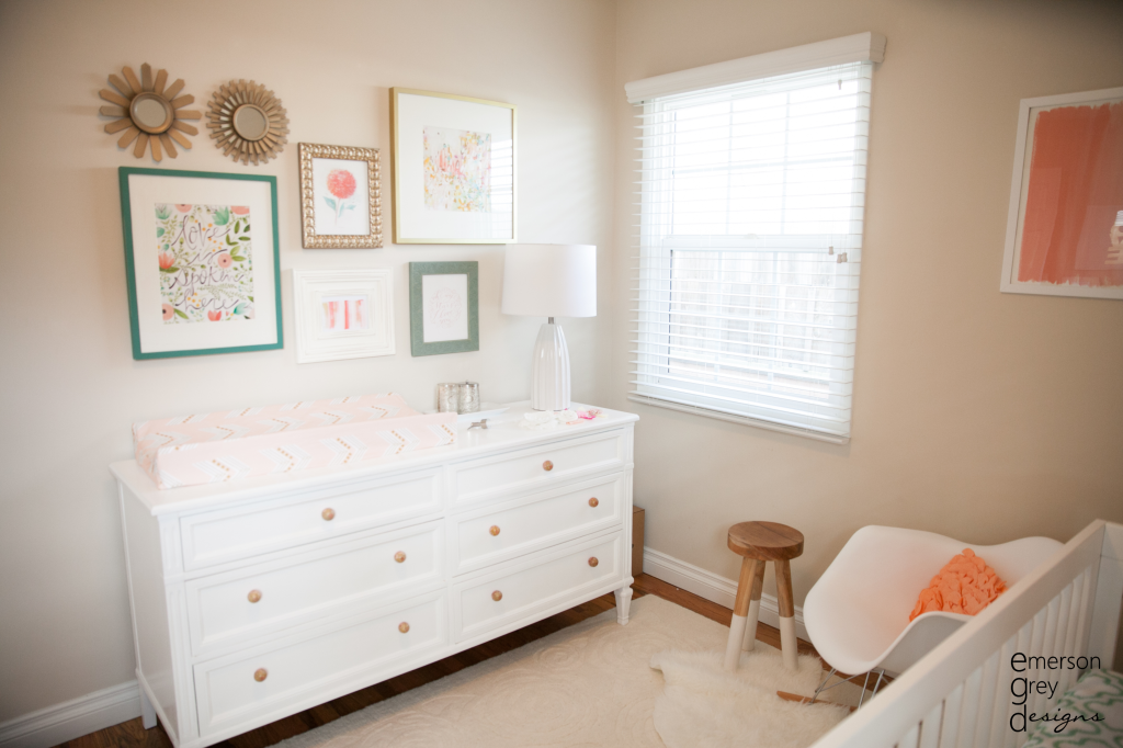 Neutral Nursery with Pops of Coral and Teal - Project Nursery