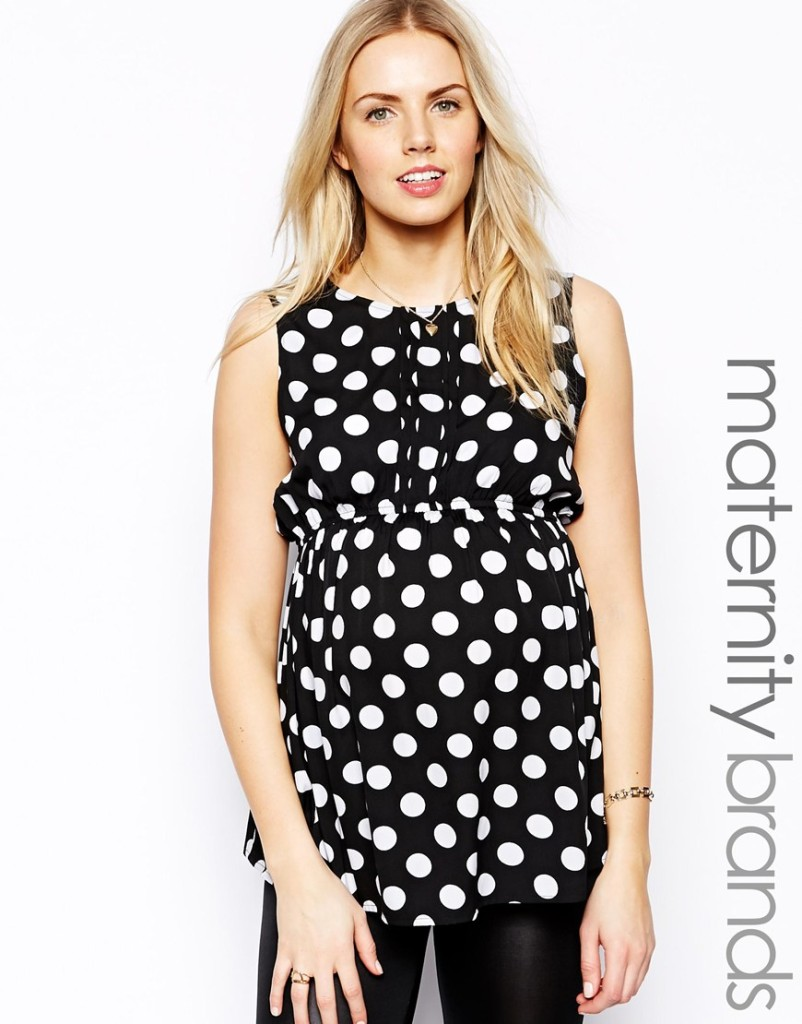 Black and White Polka Dot Maternity Blouse from ASOS