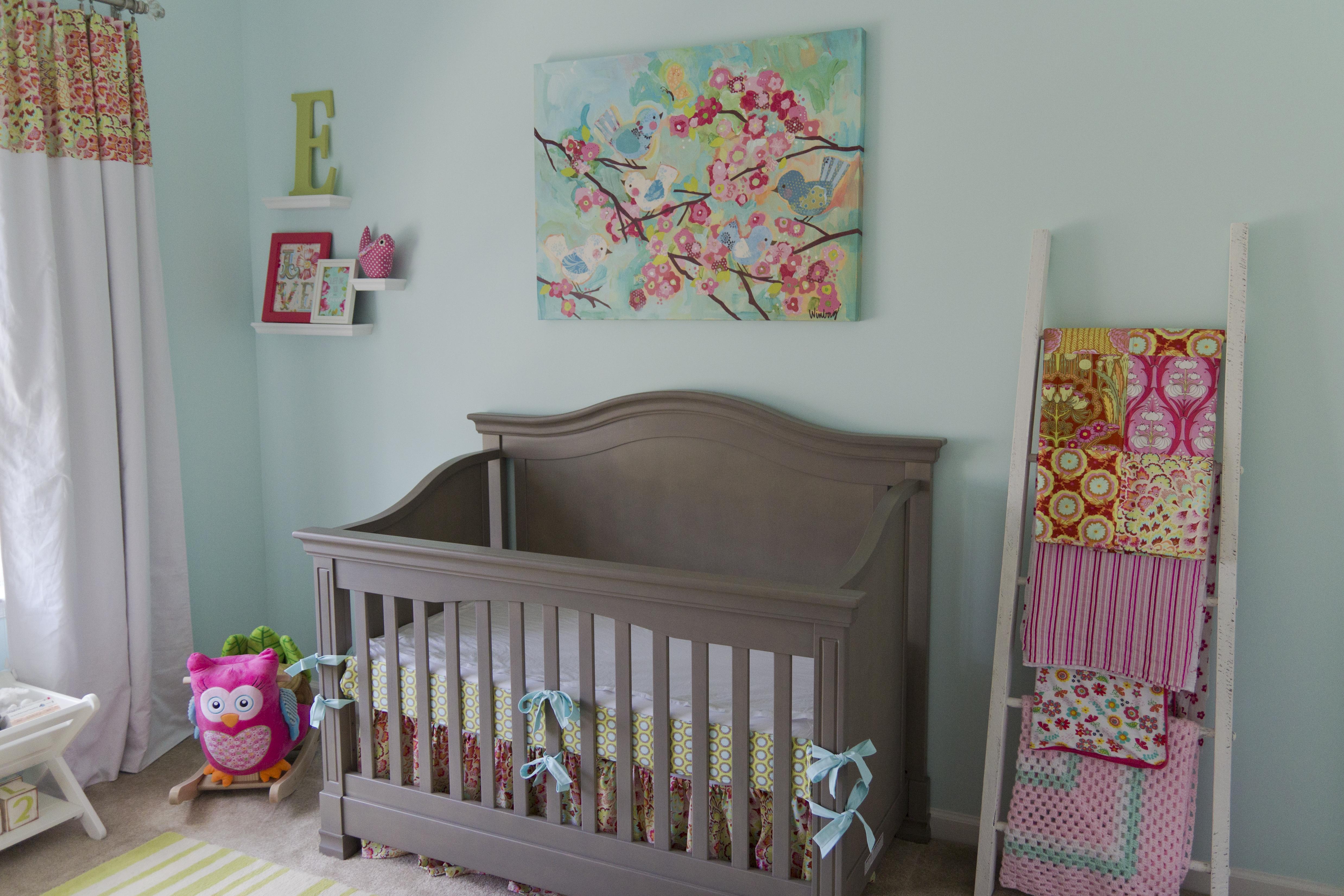 Aqua, Pink and Green Nursery