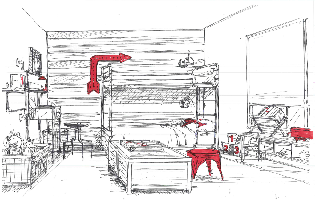 Sketch of Boy's Room by RH Baby & Child