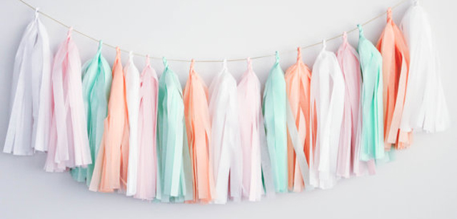 Mint, Pink and White Tissue Tassel Garland