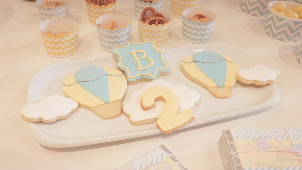 Blue and Yellow Hot Air Balloon Sugar Cookies