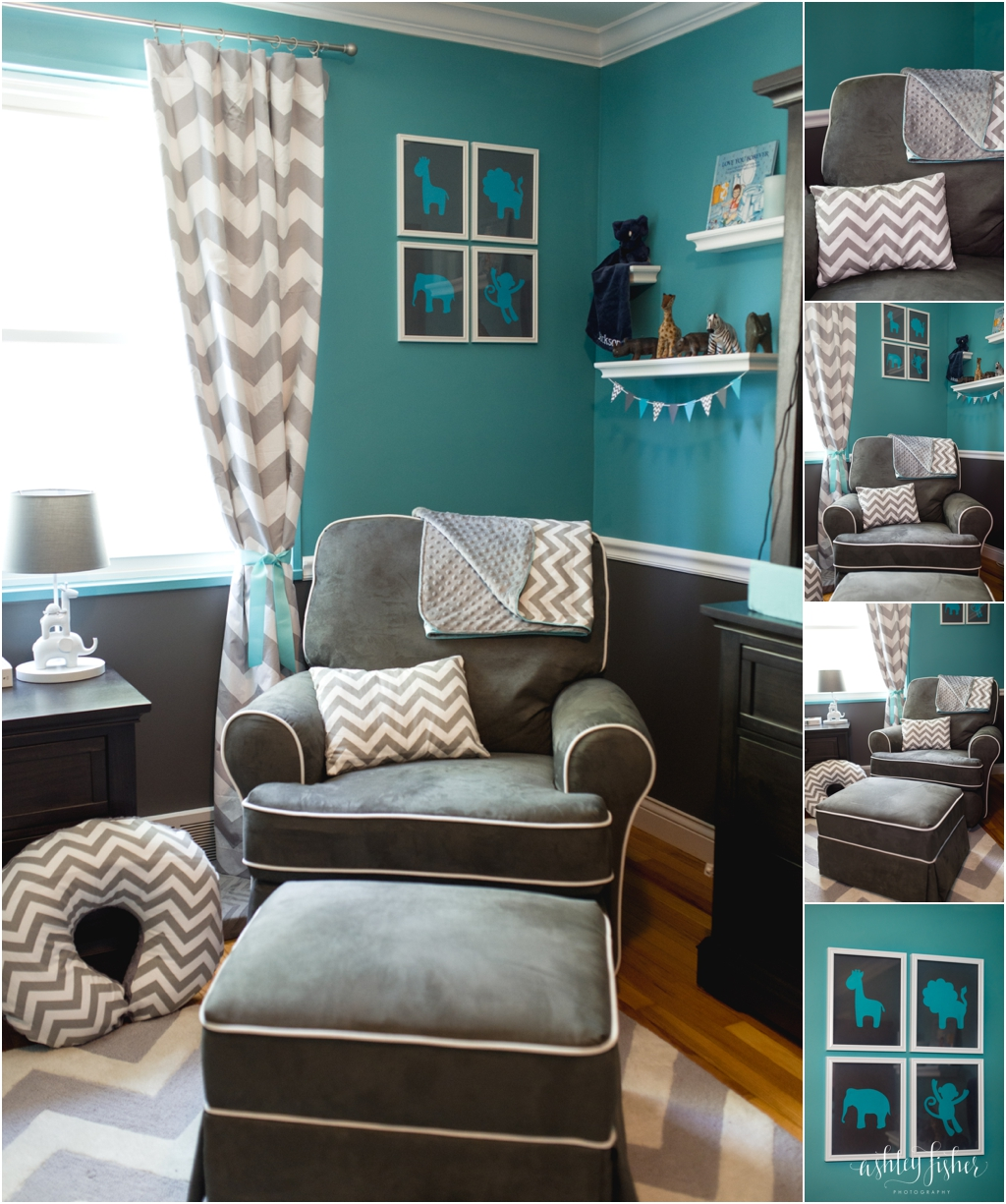 Baby Boy Bedroom Colors Contemporary One Bedroom Apartment Design Navy Blue Bedroom Paint Boy Kid Bedroom Furniture: Jackson's Teal And Grey Chevron Safari Nursery