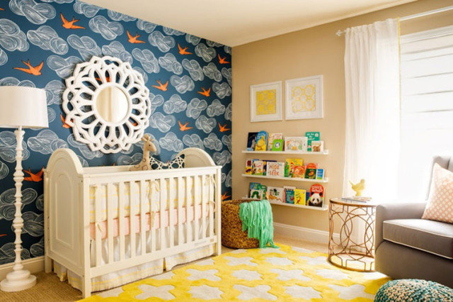 Nursery with Vintage Bird Wallpaper