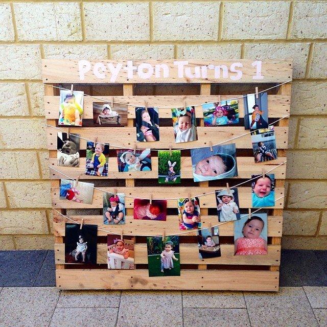 Birthday Timeline Displayed on Wooden Pallet
