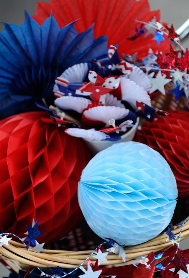 Red, White and Blue Pinwheels and Garlands