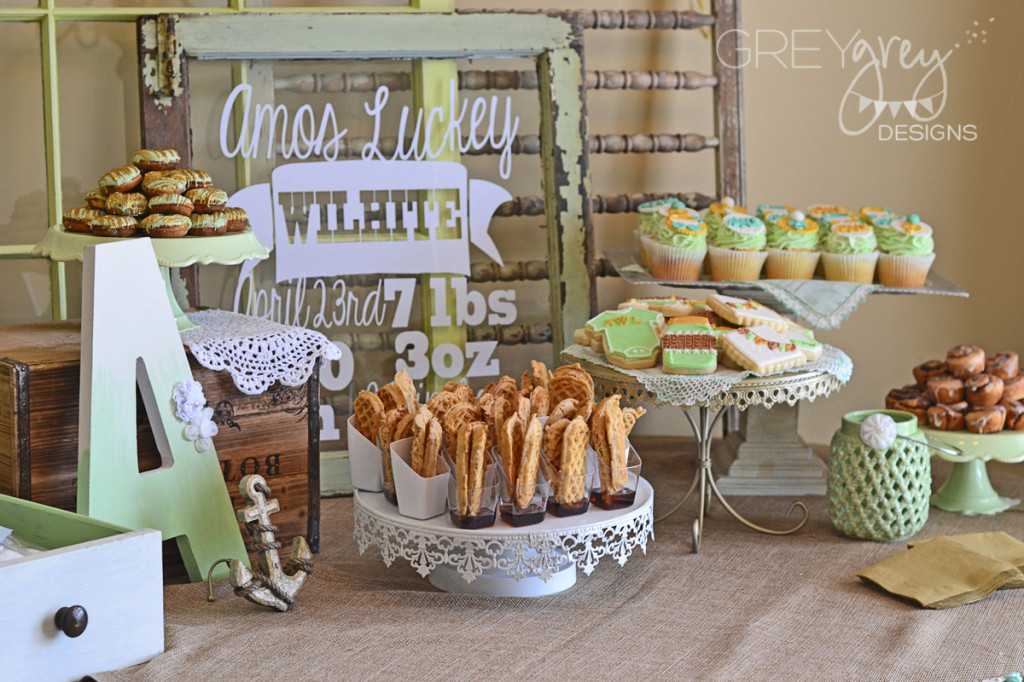 Mint and Gold Baby Shower Food Station