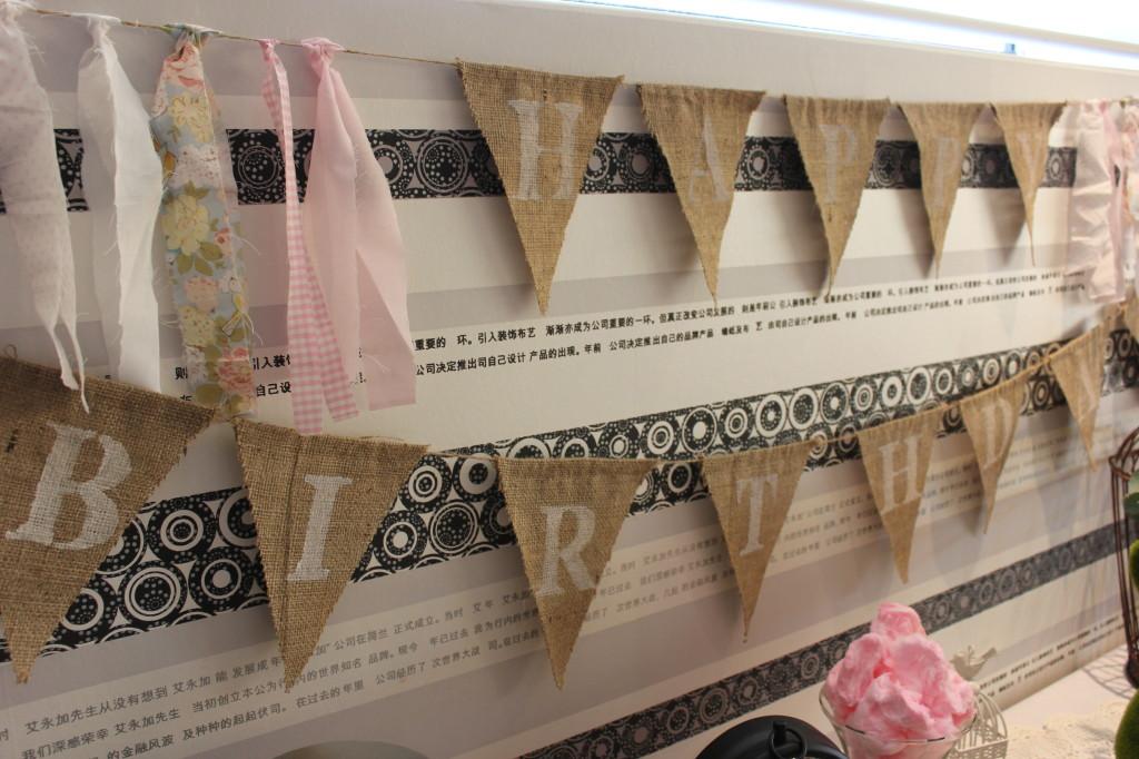 Shabby Chic Burlap Happy Birthday Banner