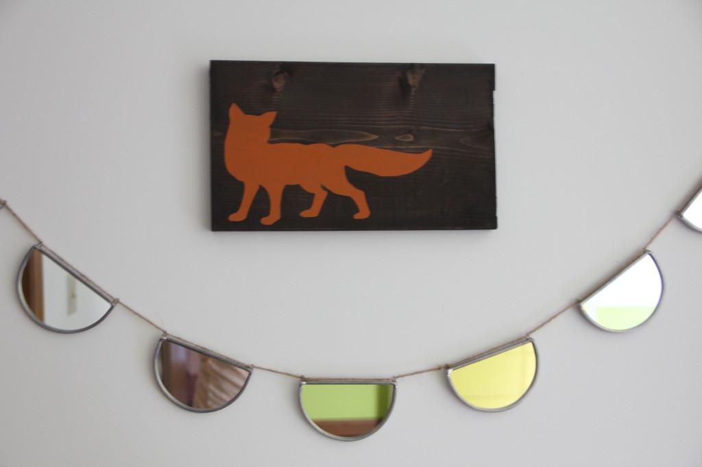 Rustic Fox Wall Plaque over Mirror Garland